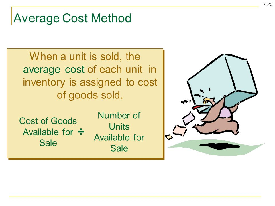Average Cost Method When a unit is sold, the average cost of each unit in inventory is assigned to cost of goods sold.