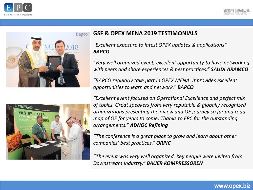 GULF SAFETY FORUM & OPEX MENA 2019 POST SHOW REPORT - ppt download