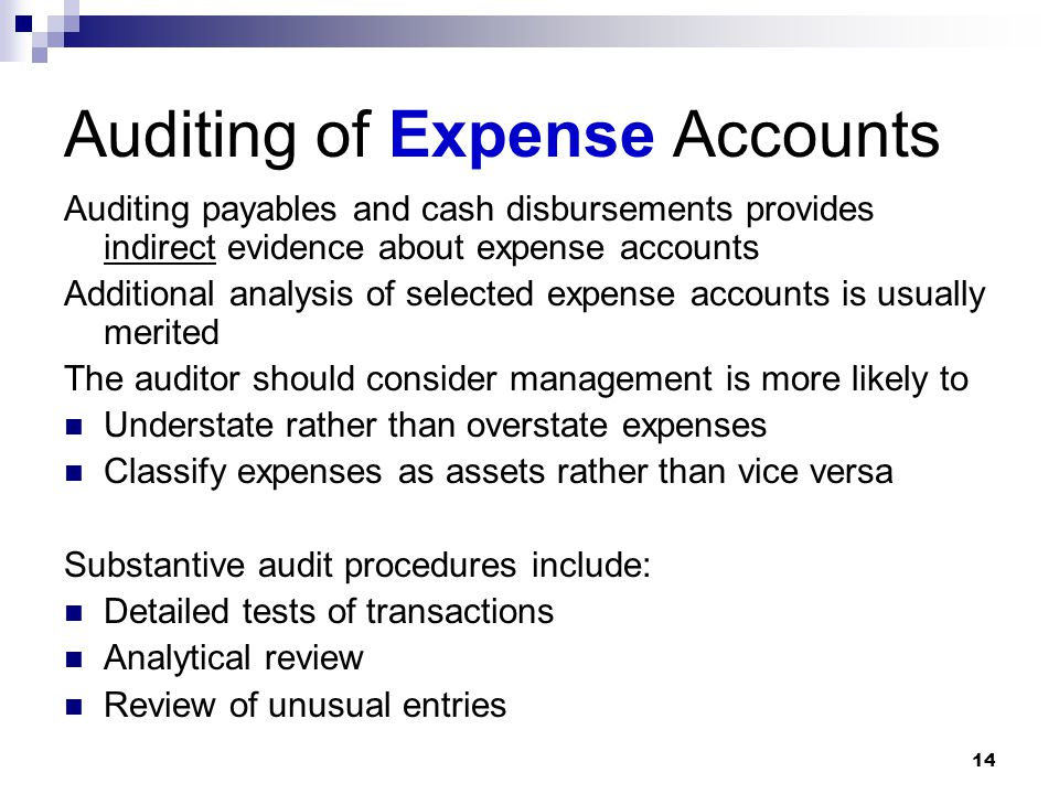 Auditing of Expense Accounts