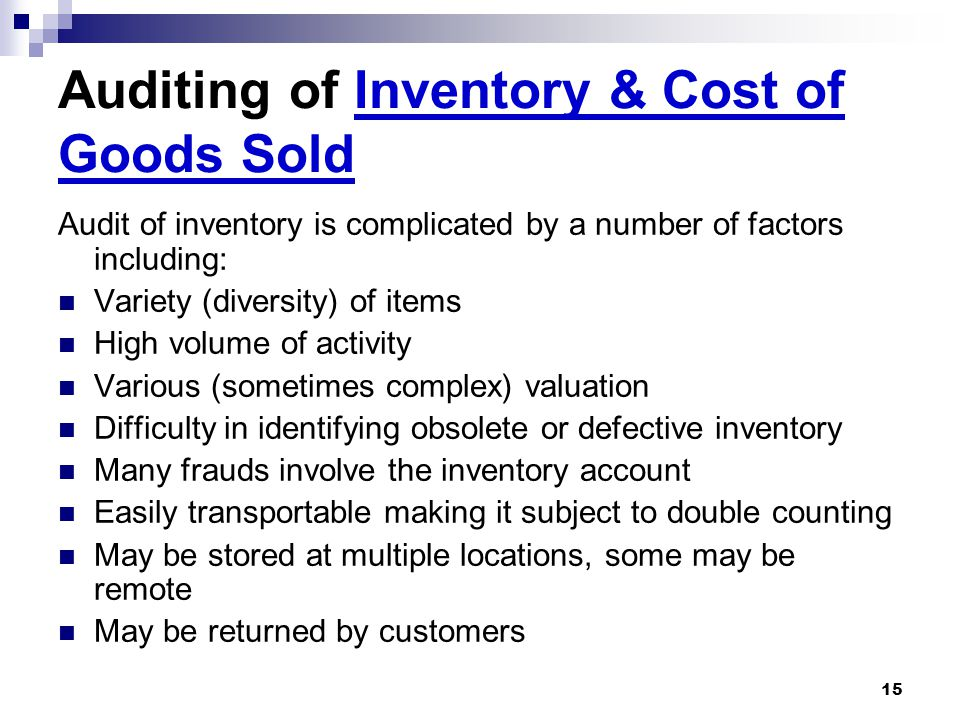 Auditing of Inventory & Cost of Goods Sold
