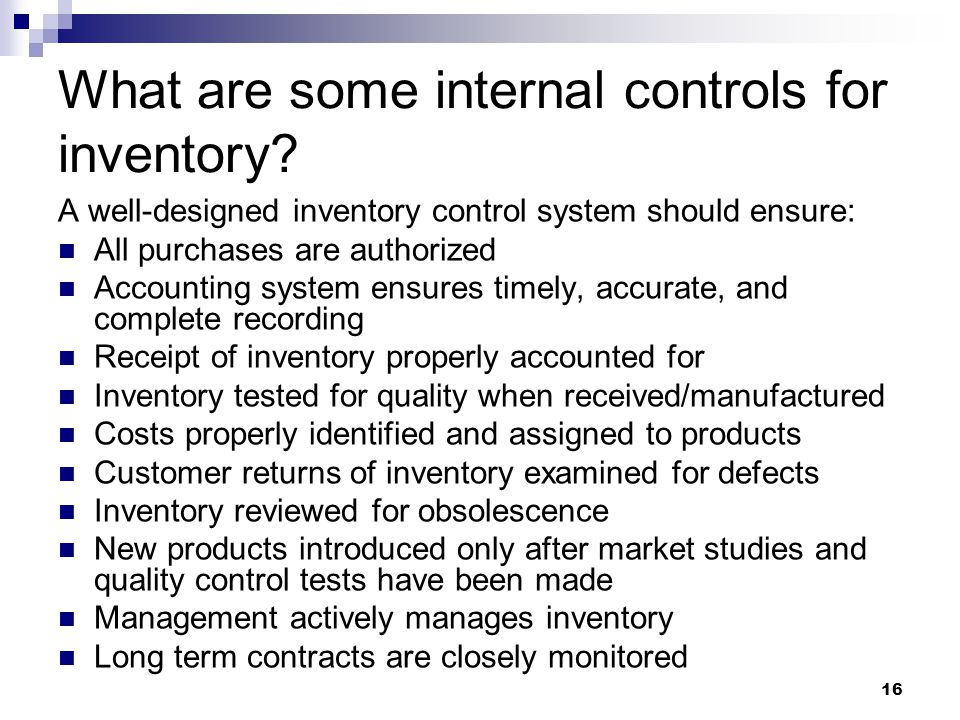 What are some internal controls for inventory
