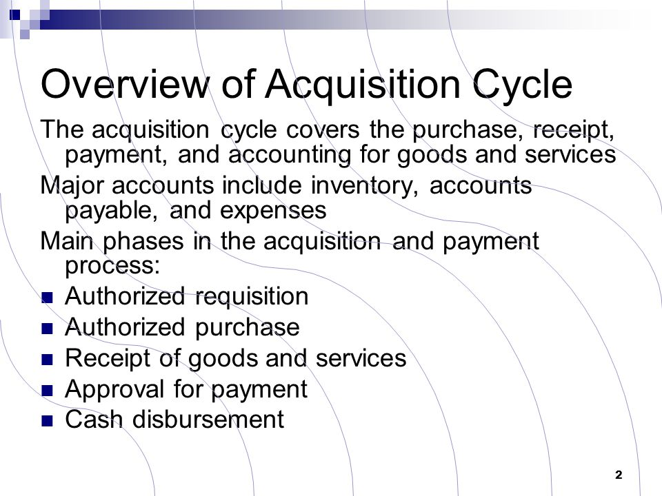 Overview of Acquisition Cycle