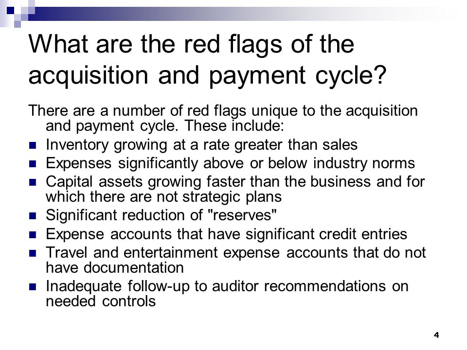What are the red flags of the acquisition and payment cycle