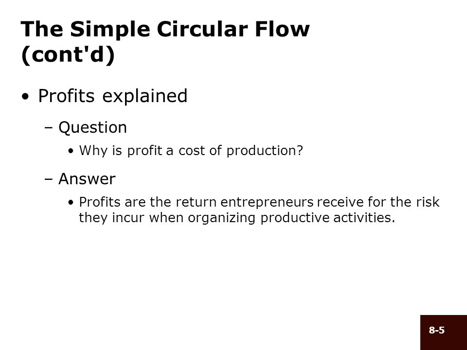 The Simple Circular Flow (cont d)