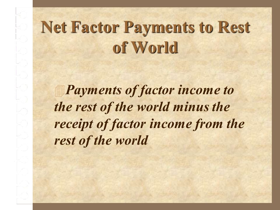 Net Factor Payments to Rest of World