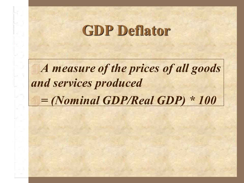 GDP Deflator A measure of the prices of all goods and services produced.
