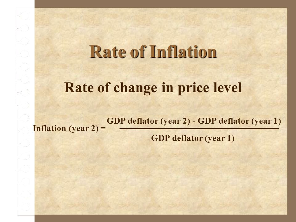 Rate of change in price level