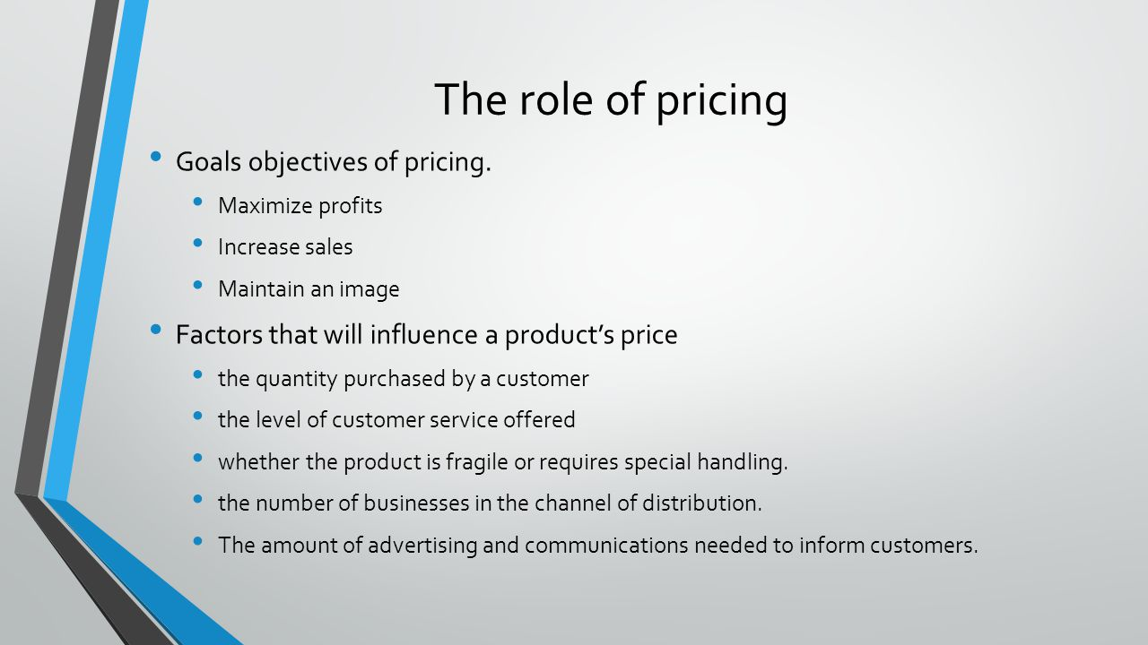 The role of pricing Goals objectives of pricing.
