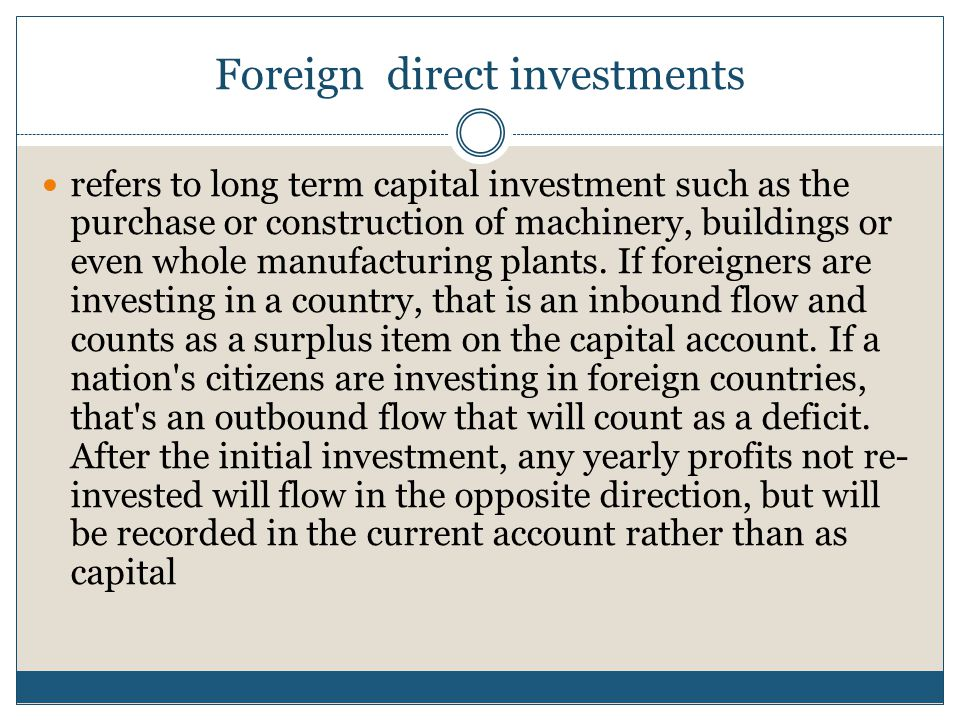 Foreign direct investments