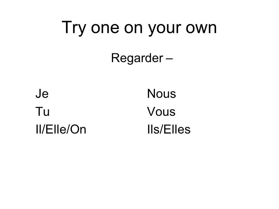 Try one on your own Regarder – Je Nous Tu Vous Il/Elle/On Ils/Elles