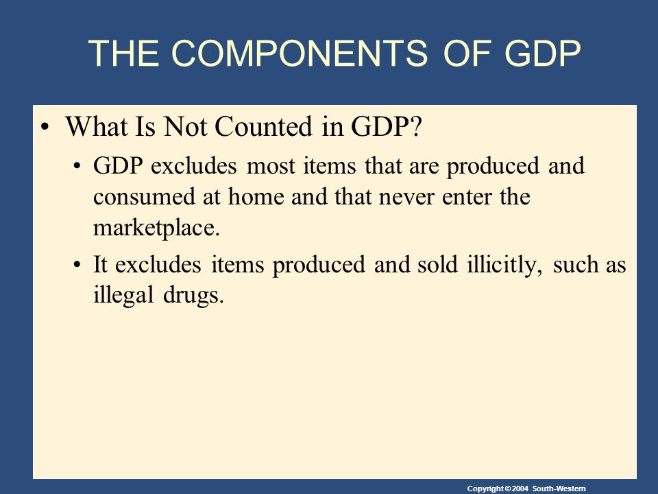 THE COMPONENTS OF GDP What Is Not Counted in GDP