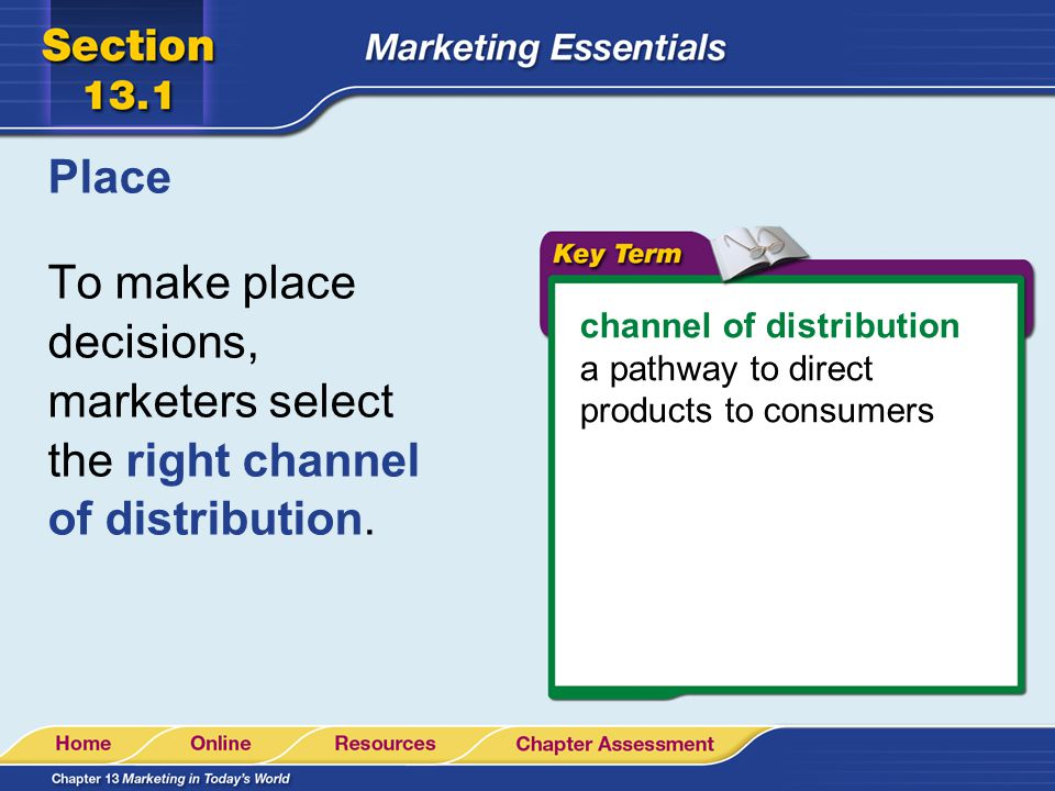 Place To make place decisions, marketers select the right channel of distribution. channel of distribution.