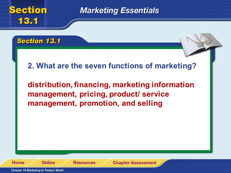 What are the seven functions of marketing