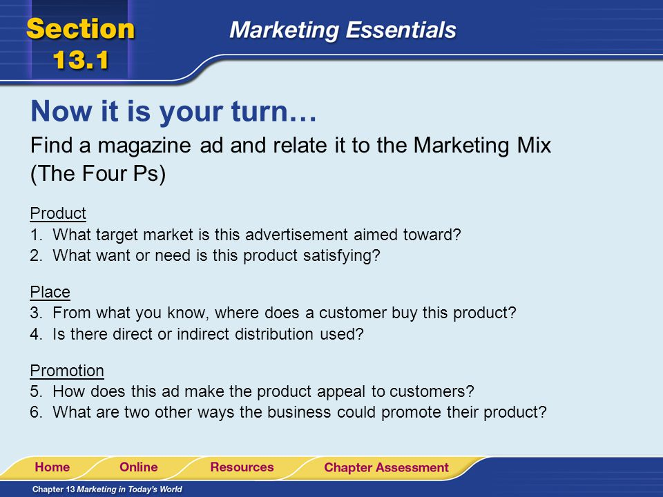 Now it is your turn… Find a magazine ad and relate it to the Marketing Mix (The Four Ps)
