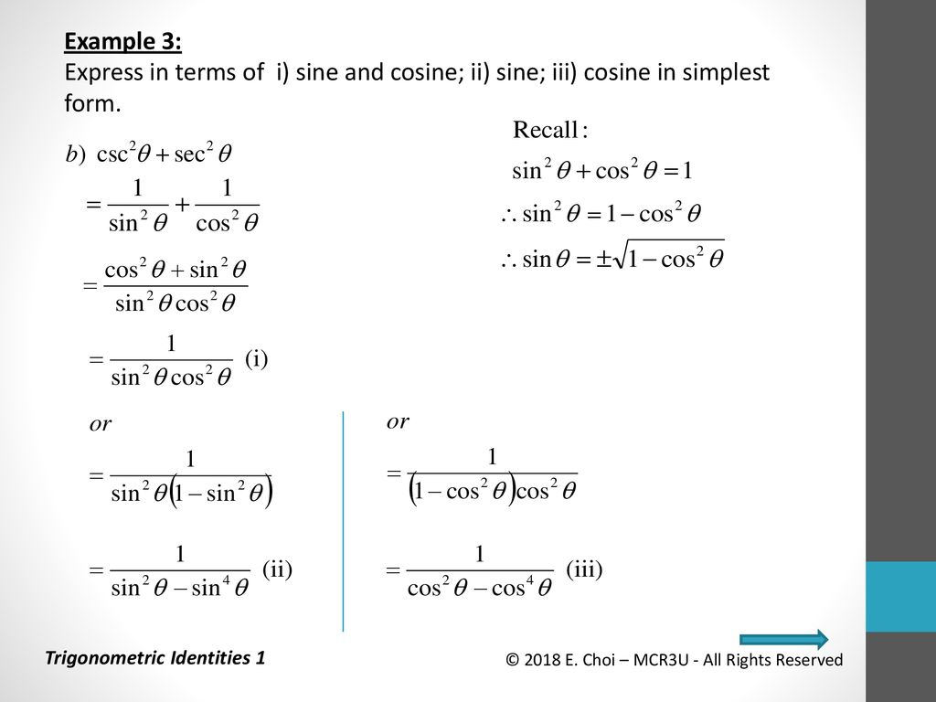 simplest form in terms of i  Grade 113 Functions (MCR13U) Unit 13: Trigonometry ...
