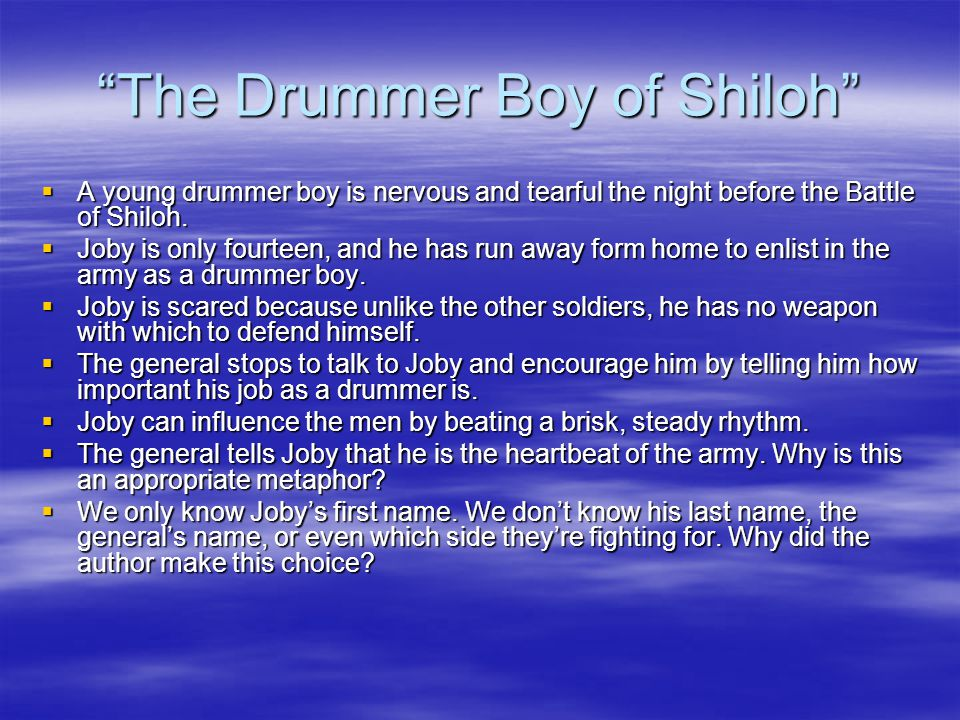 the drummer boy of shiloh story