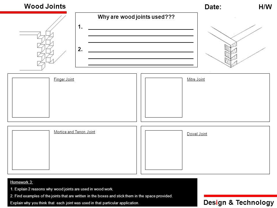 Design & Technology Yr 7 Resistant Materials Homework ...