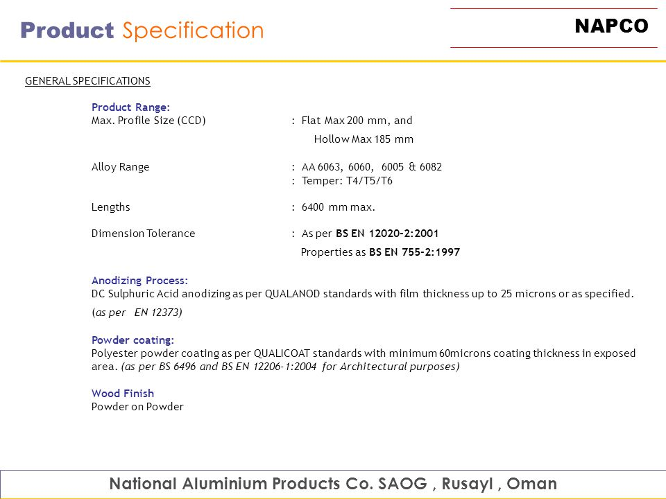 National Aluminium Products Co  SAOG , Rusayl , Oman - ppt