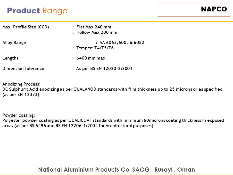 National Aluminium Products Co  SAOG , Rusayl , Oman - ppt video