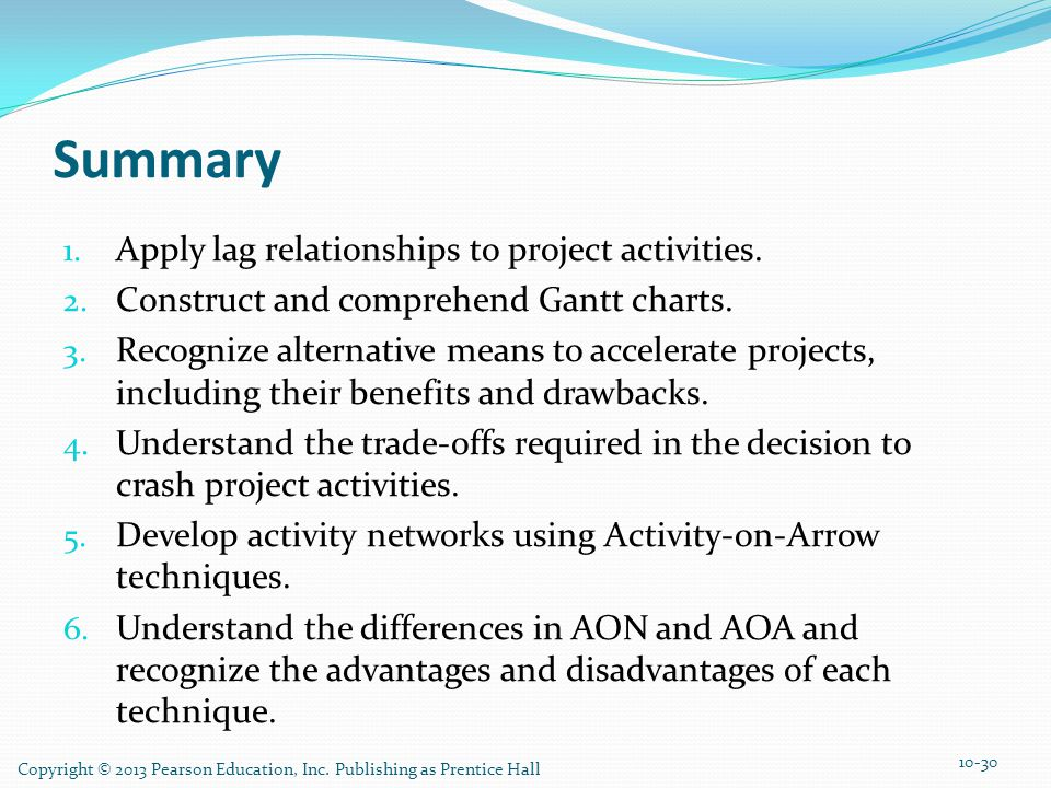 Summary Apply lag relationships to project activities.
