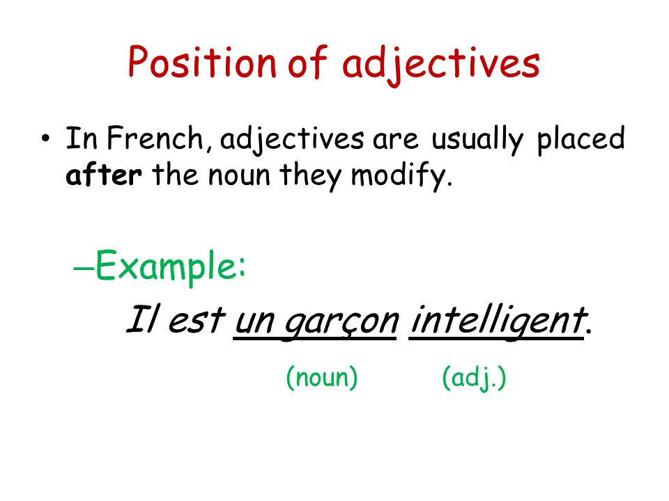 Position of adjectives