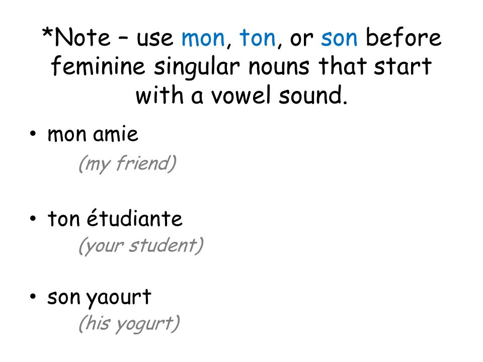 *Note – use mon, ton, or son before feminine singular nouns that start with a vowel sound.