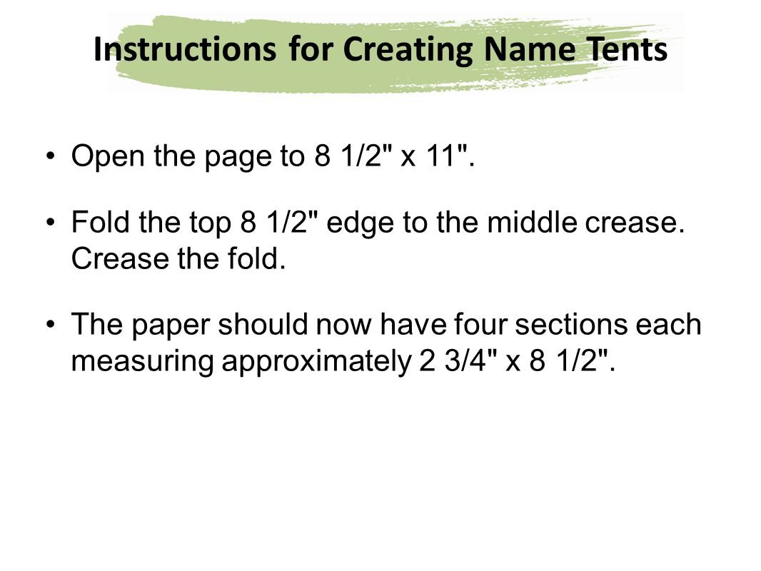 Instructions For Creating Name Tents Ppt Download