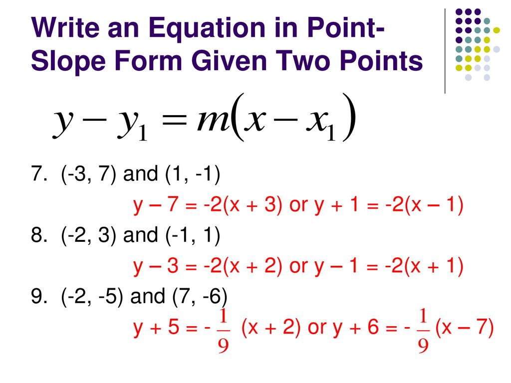 point slope form using two points  Point-Slope Form y – y1111 = m(x – x1111) - ppt download