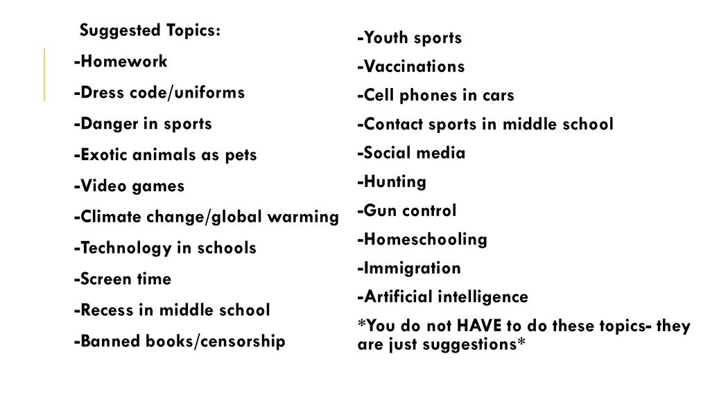 Debate topics youth The most