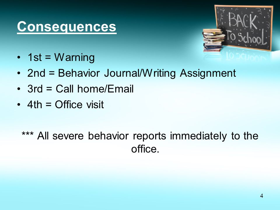 *** All severe behavior reports immediately to the office.