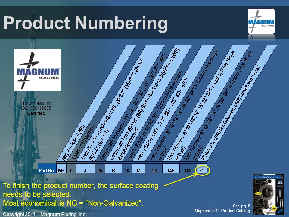 Product Numbering To finish the product number, the surface coating needs to be selected. Most economical is NG = Non-Galvanized .
