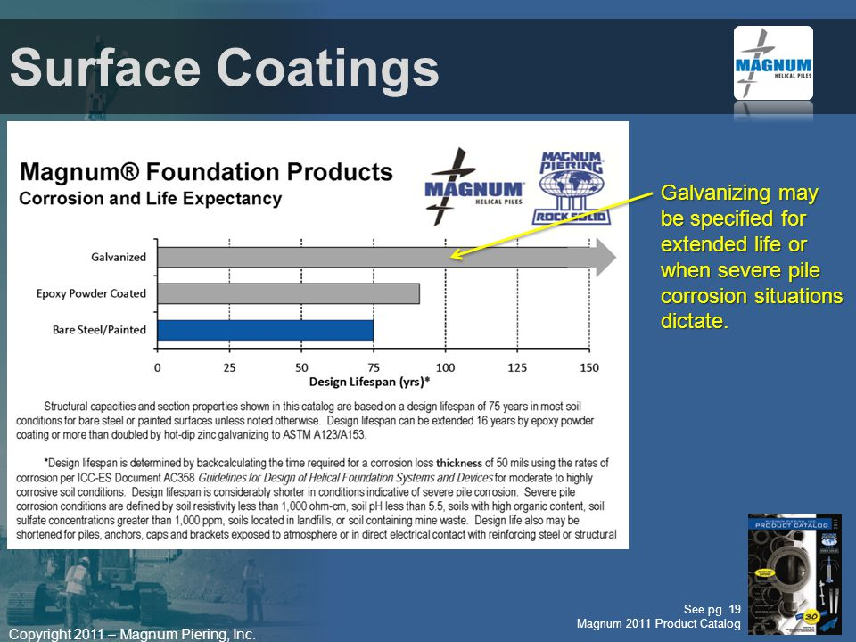 Surface Coatings Galvanizing may be specified for extended life or when severe pile corrosion situations dictate.