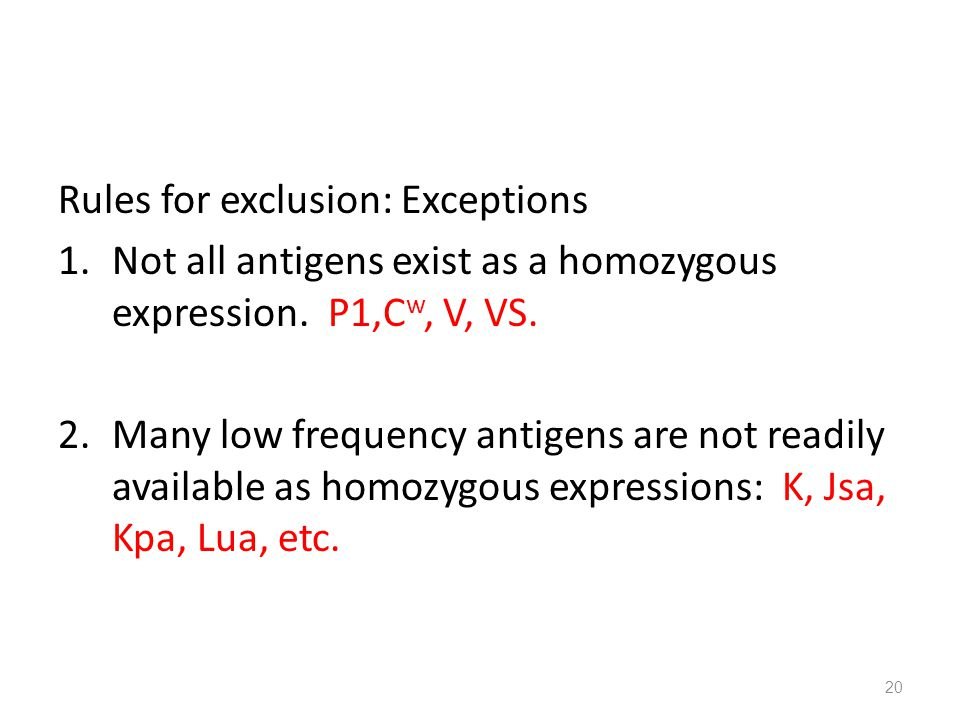 Rules for exclusion: Exceptions