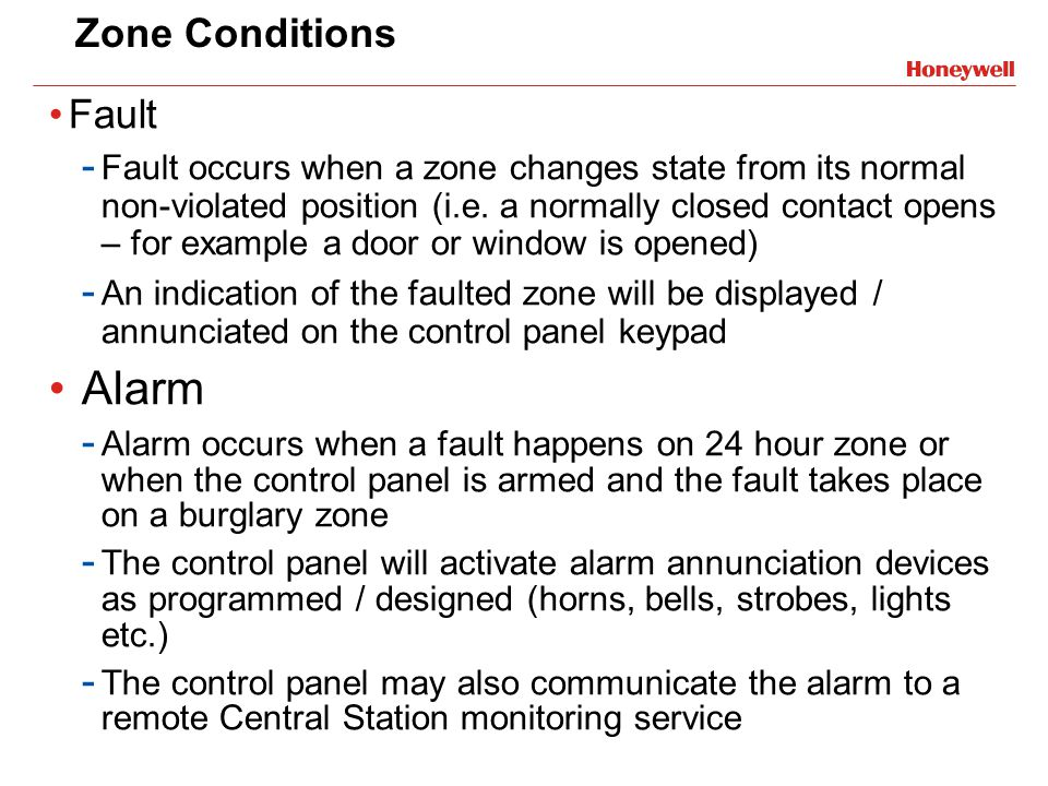 Alarm Zone Conditions Fault