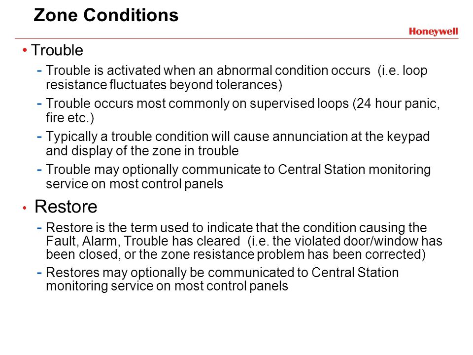 Zone Conditions Trouble