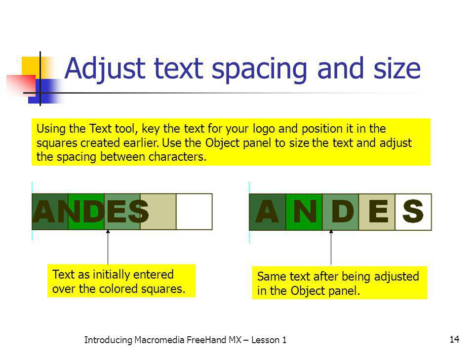 Adjust text spacing and size