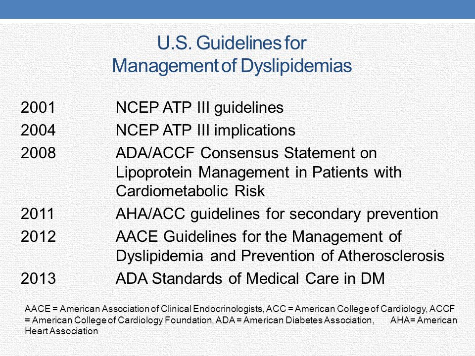 U.S. Guidelines for Management of Dyslipidemias