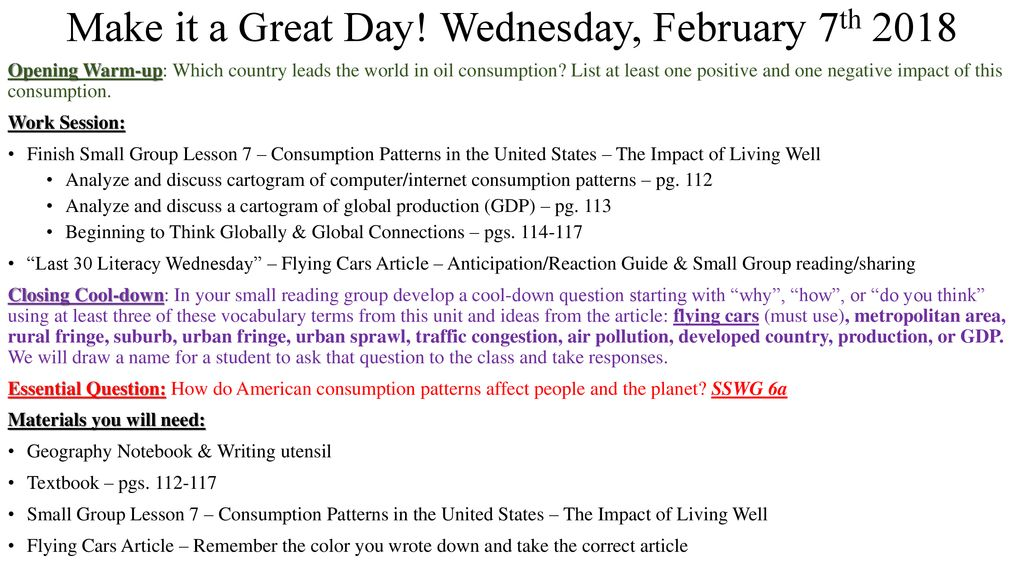 Make it a Great Day! Wednesday, February 7th ppt download