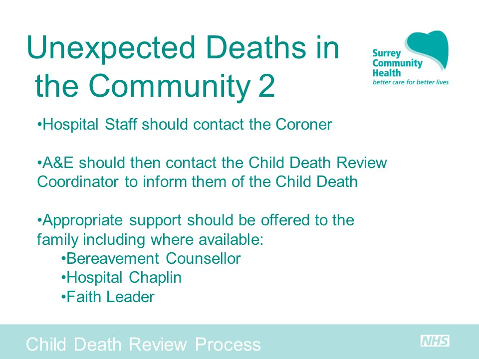 Unexpected Deaths in the Community 2 Child Death Review Process