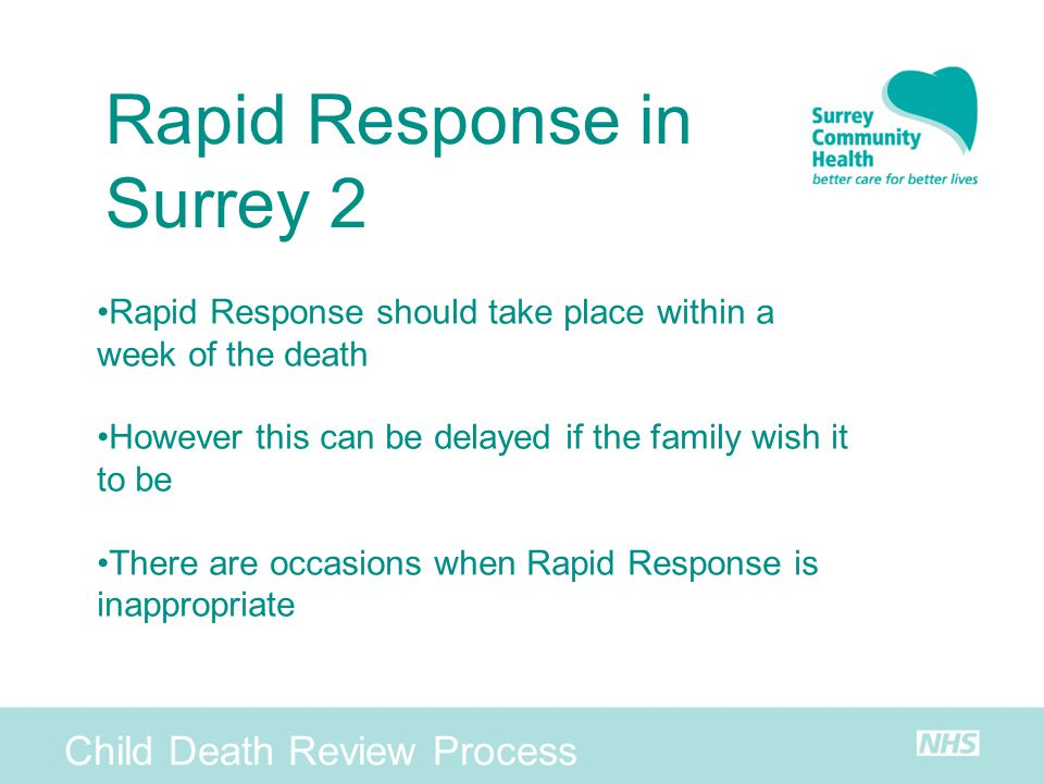 Rapid Response in Surrey 2 Child Death Review Process