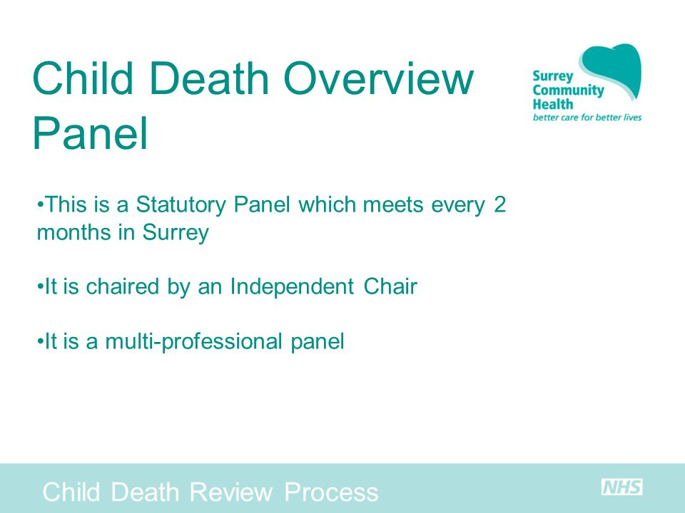 Child Death Overview Panel Child Death Review Process