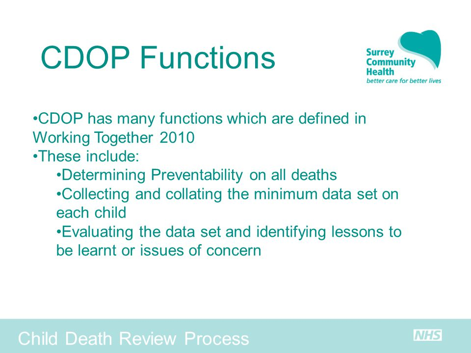 CDOP Functions Child Death Review Process