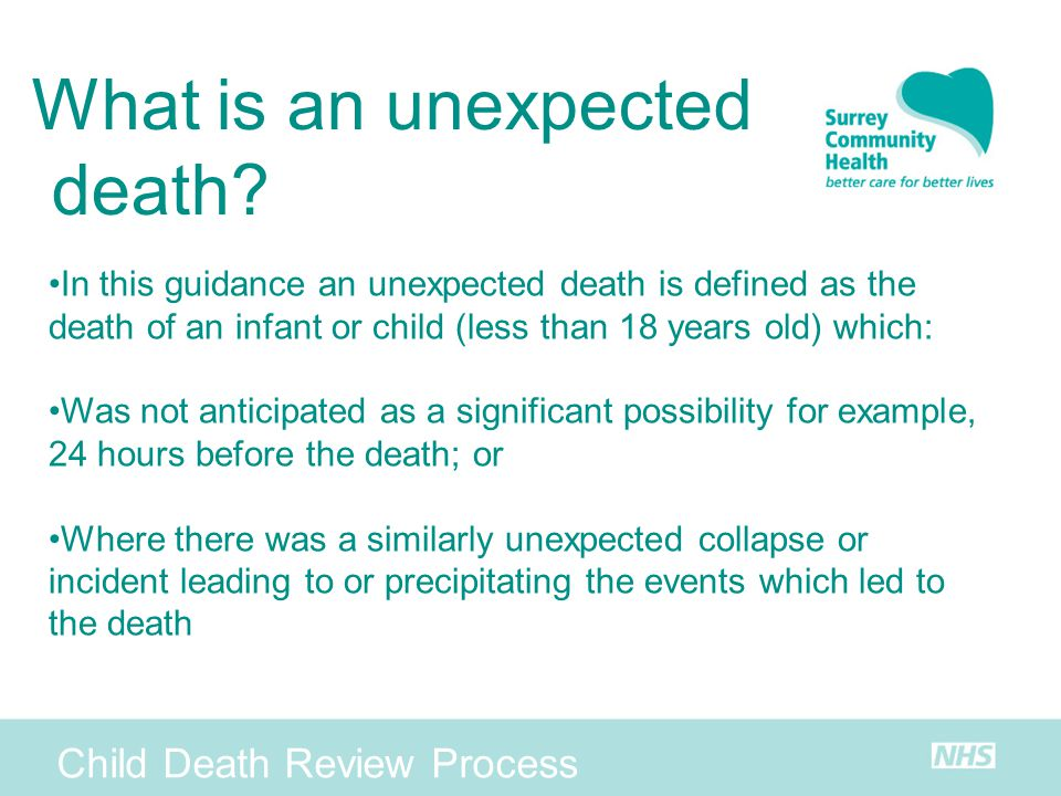 What is an unexpected death Child Death Review Process
