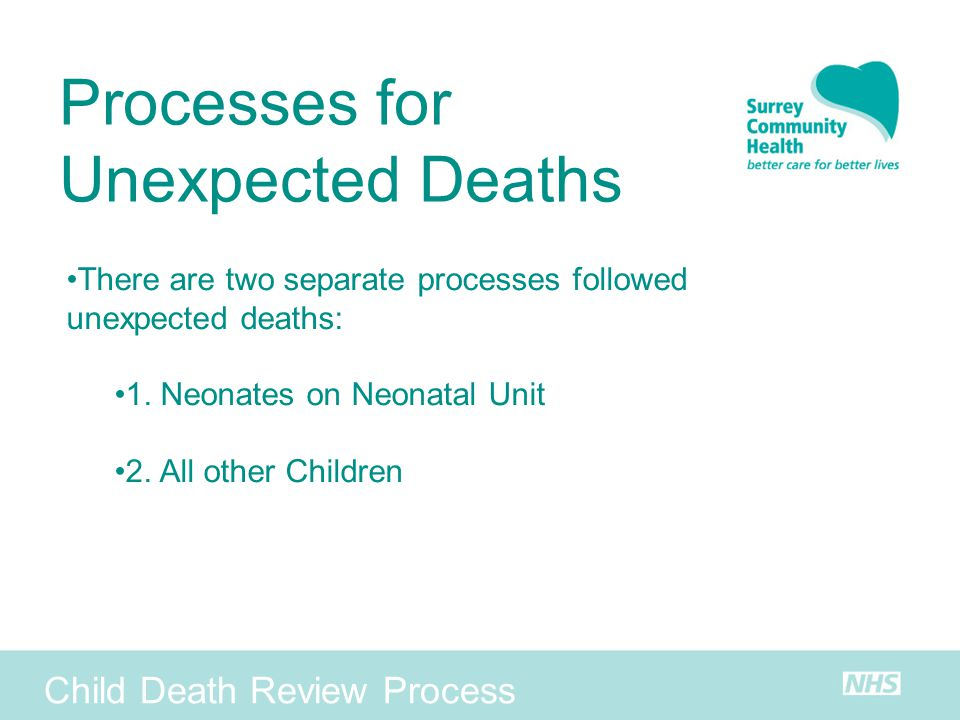 Processes for Unexpected Deaths Child Death Review Process