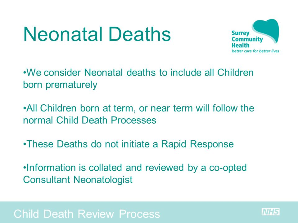 Neonatal Deaths Child Death Review Process