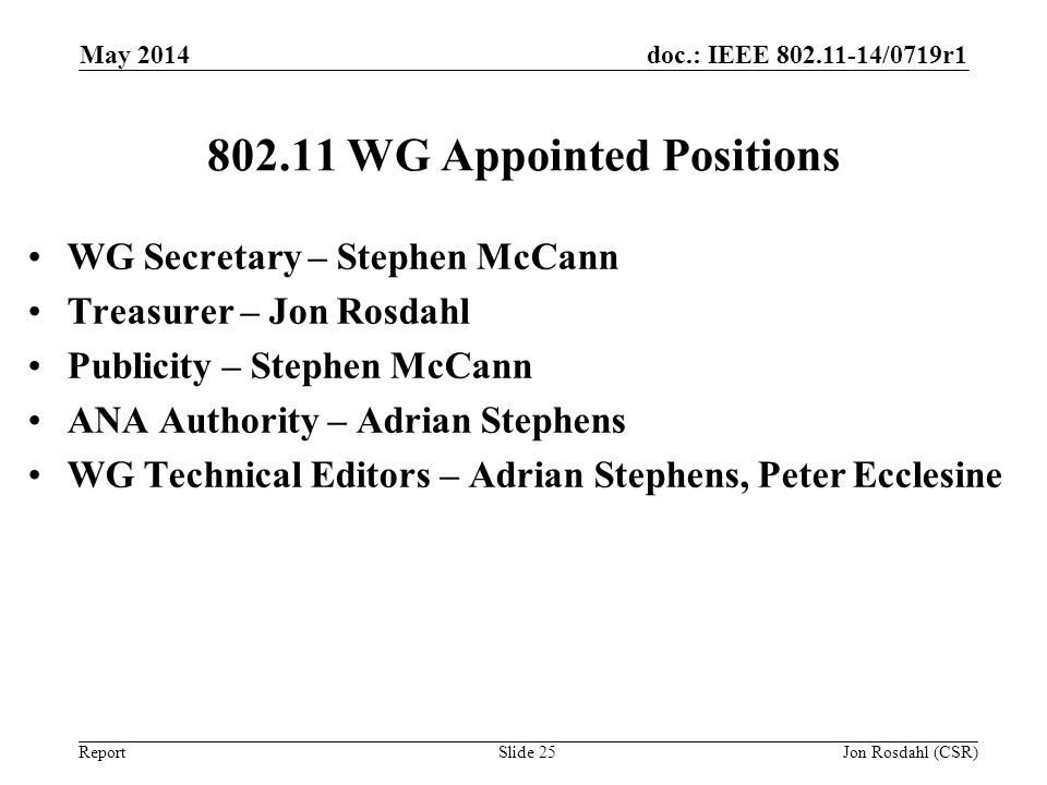 WG Appointed Positions