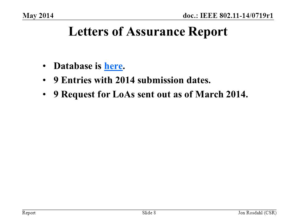 Letters of Assurance Report