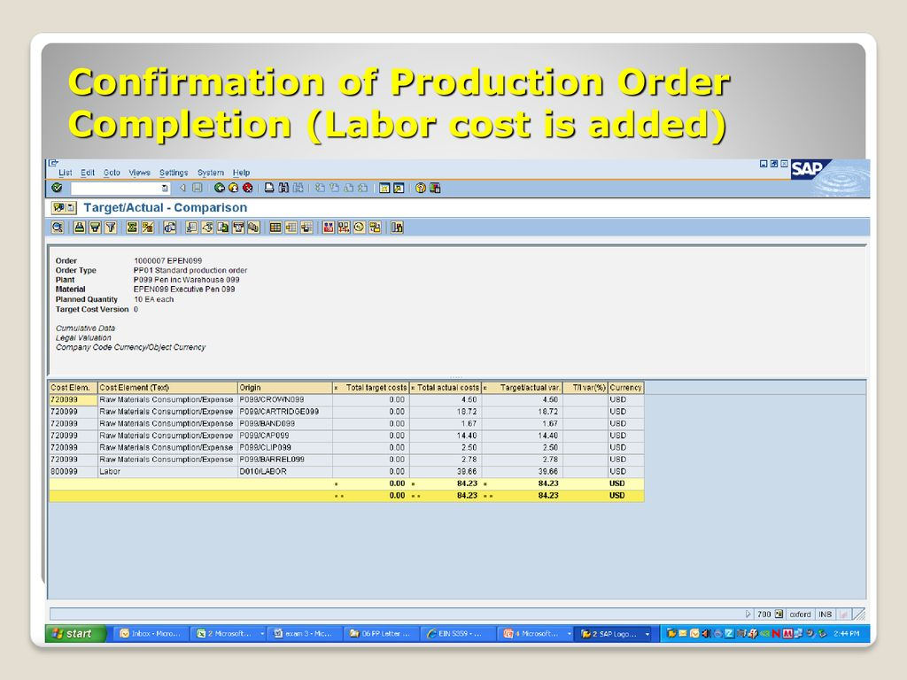 Production Planning Processes SAP Implementation EGN