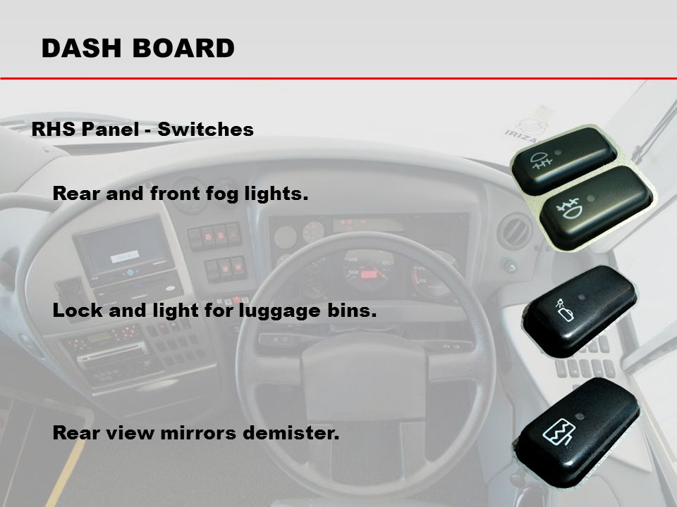DASH BOARD RHS Panel - Switches Rear and front fog lights.