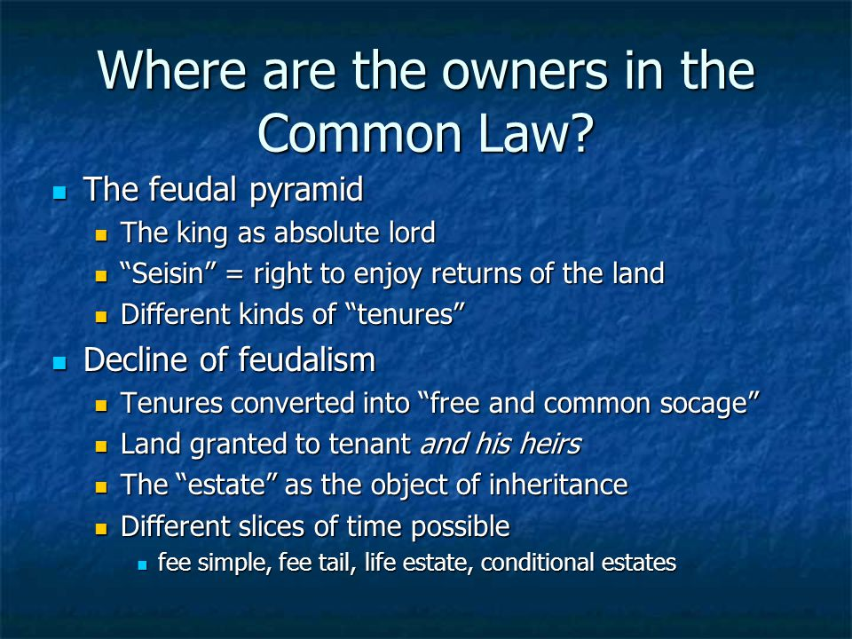 Where are the owners in the Common Law